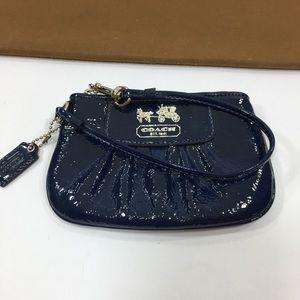Coach Navy Patent Leather Wristlet